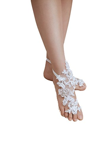 ASA Bridal Summer Crochet Barefoot Sandal Lace Anklets Wedding Prom Party Bangle (Pearl Ivory)