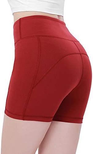 レディースジャージ上下セット 女性ハイウエストヨガジムスポーツショーツ (色 : 赤, サイズ : L)