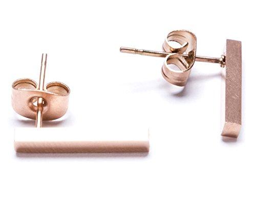 Modern Lines Earrings in Rose Gold | Elegant Titanium Ear Studs nickel free