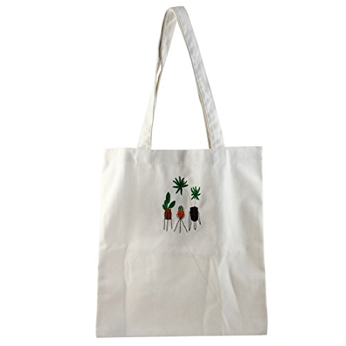 Map Sourcing Duffel Bag For Travel Storage Embroidery School Various Potted Plants White