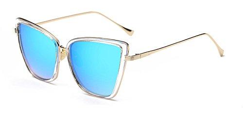 Sol TL Cat de de en Ventanas Ojo C5 Gato UV400 Gafas Gafas de Sunglasses reflejadas C6 Mujeres de Metal ttpIqRr