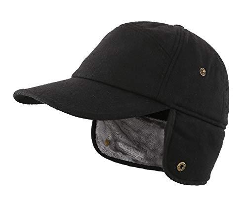 (Home Prefer Winter Baseball Cap Earflap Fitted Hats Mens Faux Fur Hunting Hat Mens Winter Cap Black)