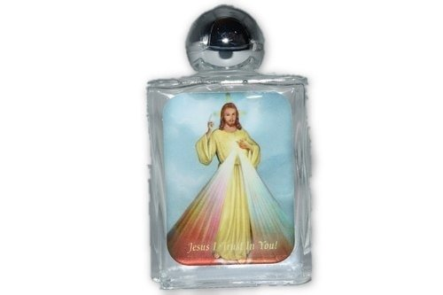 Nature's Enlightenment Divine Mercy Glass Holy Water Bottle- 1pc- Empty Holy Water ()