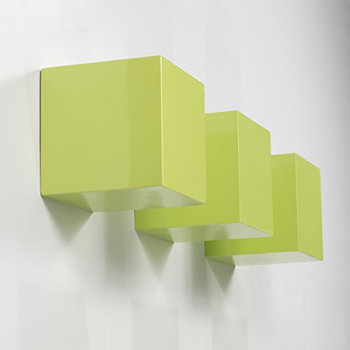 Brightmaison Kid's Nursery Room Decorative Square Wall Cubes Floating Block Shelves Set of 3 (Green)