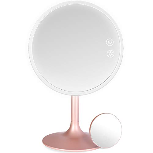 Lighted Makeup Mirror, 3 Color Dimmable Vanity Mirror with 1X / 5X Magnification, Rechargeable Led Cosmetics Mirror Portable with Touch Screen, 120 Degree Rotation
