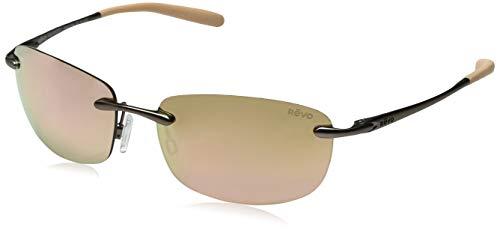 Revo Unisex RE 1032 Outlander S Rectangular Polarized Protection Sunglasses, Light Sand Frame, Champagne Lens