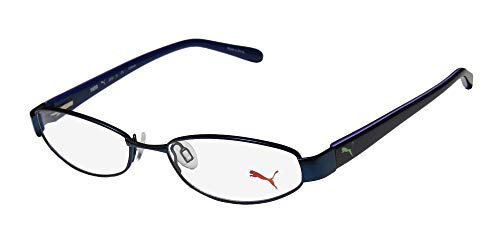 Puma 15357 Pico Mens/Womens Cat Eye Spring Hinges Classic Shape Durable TIGHT-FIT Designed For Jogging/Cycling/Sports Activities Eyeglasses/Eyeglass Frame (50-16-135, Blue/Purple)