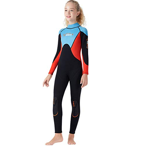 FEDULK Children Youth Wetsuit Scuba One Piece Diving Suit Snorkeling Surfing Sun Protection Sunsuit Swimsuit(Blue, Medium)