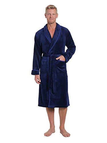 leece Plush Spa/Bath Robe - Marl Blue/Black - L/XL ()