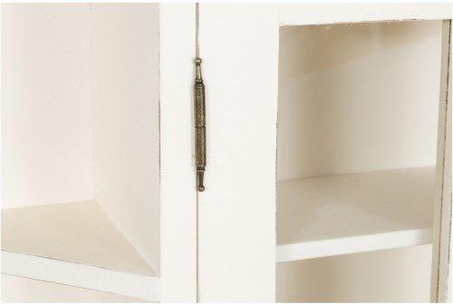 Biscottini Vetrinetta scantonata da appendere in legno massello di tiglio finitura bianca anticata 86x21x75 cm