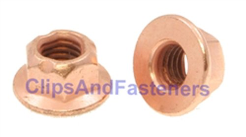 25 M8-1.25 Flange Exhaust LockNut Copper Plated 12mm Hex ()