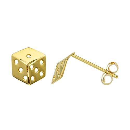 14k Gold Dice (14K Yellow Gold Dice Stud Earrings (Push Back))