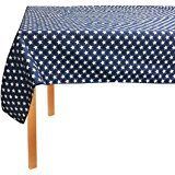 oth Table Cloth - White and Blue Stars - 52 in X 90 in - Easy Care Wipe Clean - 100% PEVA Front - 100% Polyester Back (July Stars)