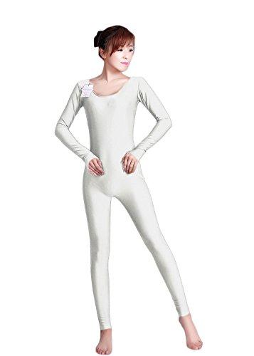 Lycra Bodysuits Australia (WOLF UNITARD Long Sleeve Unitard Bodysuit Dancewear Large White)