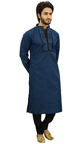 Atasi Diseñador Hombres De Kurta Pijama De Algodón Largo Determinado De Punjabi Camisa: Amazon.es: Ropa y accesorios
