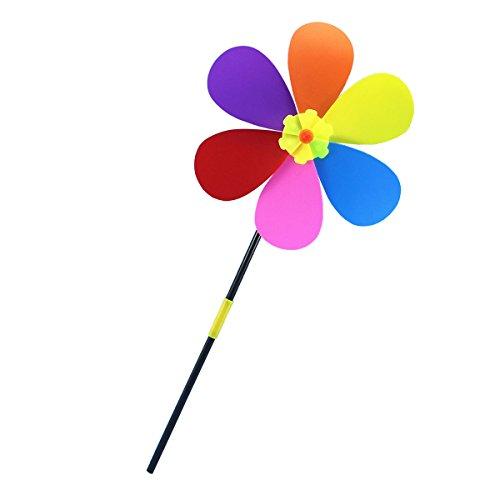 OUNONA 風車 ひまわり 6花びら プラスチック カラフル 花 サンフラワー 屋外風車 キッズ 子供のおもちゃ 玩具