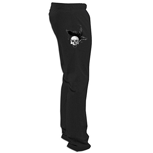 Yesher Cool Raven And Skull.PNG Long Workout Pants Black Size XL (Black Raven Beanie)