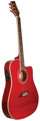 (Kona K2TRD Acoustic Electric Dreadnought Cutaway Guitar in Transparent Red Finish)