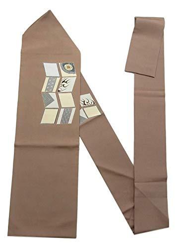 再開正統派肘リサイクル 名古屋帯 塩瀬 番傘に隈取や麻の葉文 正絹