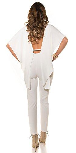 KouCla Overall mit weitem Rückenausschnitt - Fledermaus Jumpsuit Einteiler in 4 Farben (OVH1) (Weiss)