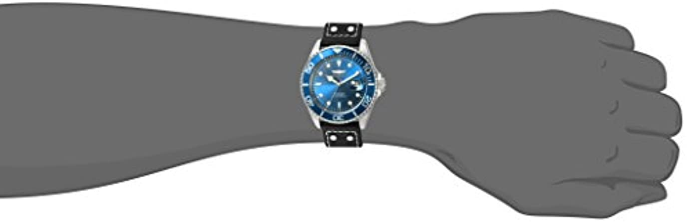 Invicta Men s Pro Diver Quartz Stainless Steel and Leather Watch, Color Black Model 22068