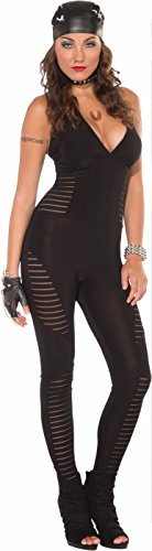 Biker Halloween Costumes Girl (Forum Novelties Women's Biker Babe Bad Girl Costume Jumpsuit, Black, Medium/Large)