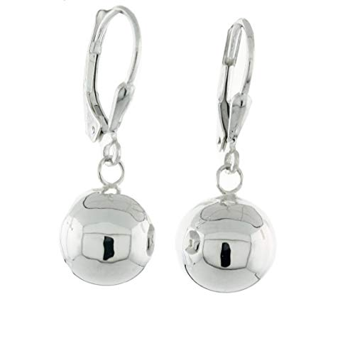 Sterling Silver High Polished Ball Leverback Dangling Earrings, 10mm