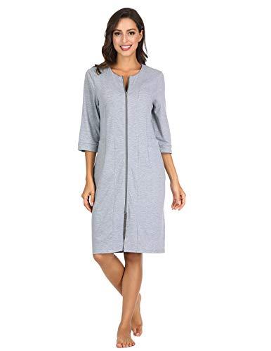 (Womens Relaxed Fit Zip-Front Cotton Robe Zipper Bathrobe Grey XL)