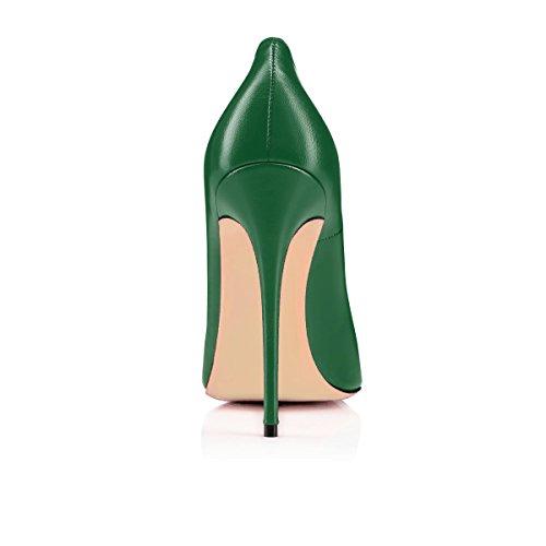 Chaussures Femmes Stilettos Aiguille Grande 120mm Ubeauty Pu Haut Femme Vert Taille Escarpins Talons Talon E5qqpAW
