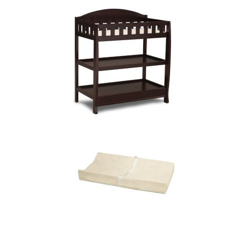 Delta Children Infant Changing Table with Pad, Dark Chocolate and Simmons Kids Beautysleep Naturally Contour Pad