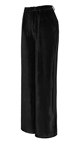 Urban CoCo Women's Vogue Velvet Palazzo Wide Leg Pants (S, (Black Velvet Trousers)