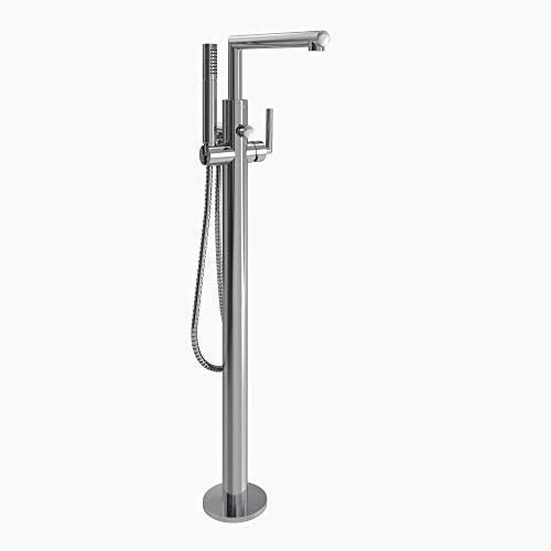 - Moen S93005 Arris Floor Mounted One-Handle Tub Filler with Hand Shower and Tub Risers, Chrome
