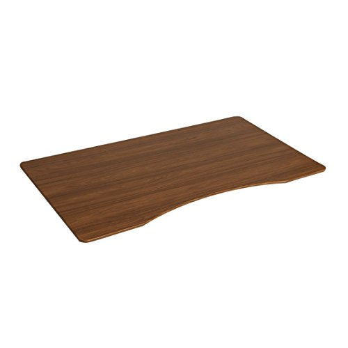 "Seville Classics Ergo Desk Table Top with Beveled Bottom Edges, 54"" x 30"", Walnut"