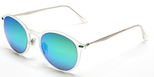 Samba Shades Modern Round Liz-LA Designer Sunglasses with Transparent TR90 Frame, Stainless Steel Silver Arms, Green Revo Mirror Lens