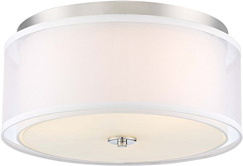 Minka Lavery Flush Mount Ceiling Light 3078-613 Studio 5 Low Profile Fixture, 3-Light 180 Watts, Polished Nickel