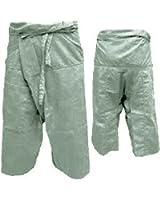 Thai Fisherman Pants Yoga Pregnancy Pants 3/4 Long Light Cotton Light Gray
