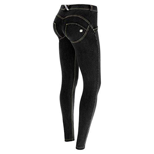 costuras Jeans Estándar Largo Wr Oscuro De up® Amarillo Negro Pantalón Denim Xxs Freddy Talle Y Pitillo ROawpngqx