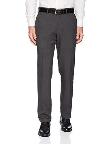 Kenneth Cole REACTION Men's Techni-Cole Mini Check Modern Fit Flat Front Dress Pant, Charcoal, 32Wx32L