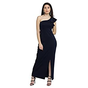 Miss Chase Women's Navy Blue Solid One Shoulder Sleeveless Ruffled Slit Maxi Dress