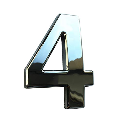 (4 Inch Mailbox Numbers 4, Door Address Number Stickers 0 to 9 for House/Apartment/Floor, Bronze/Silver, by Hopewan. (4, Silver))