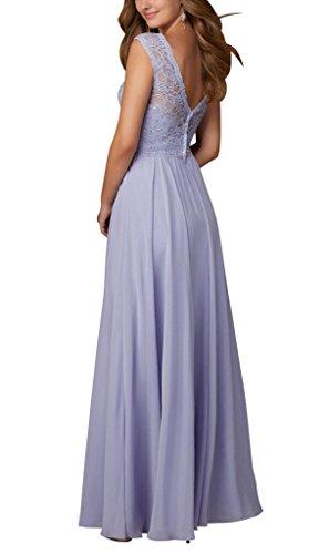 V Spitze BRIDE Lavendel Abendkleid Eleganter Lila Perlen mit GEORGE Ruecken langes ntYqZwdn