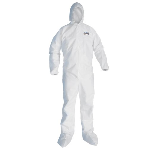 Kimberly-Clark KleenGuard A30 Breathable Splash and Particle Protection Disposable Coverall with Hood and Boots, Elastic Wrist, White, Size 5XL (Case of 21)