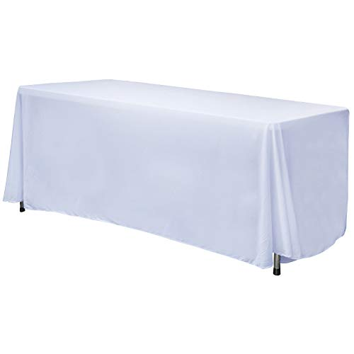 ABCCANOPY 6 FT Rectangle Tablecloth Table Cover for Rectangular Tables in Washable Polyester-Great for Buffet Table, Parties, Holiday Dinner, Wedding & More(White)
