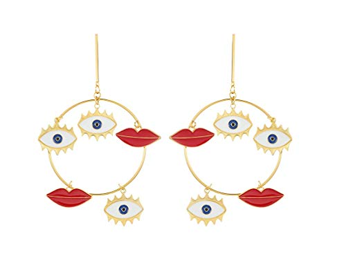 Mountainer Exaggerated Long Big Evil Eyes Lips Heart Charm Gold Color Dangle Earrings for Women Bohemian Earrings Party Jewelry-Three Evil Eyes Lips