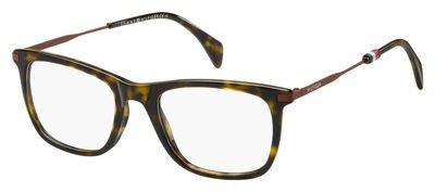 Tommy Hilfiger Plastic Rectangular Eyeglasses 51 0086 Dark Havana