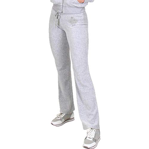 (Juicy Couture Women's Track Velour Juicy Highness Del Rey Pants Silver Lining Small)