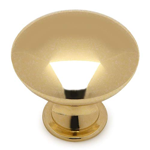 10 Pack - Cosmas 5305PB Polished Brass Traditional Round Solid Cabinet Hardware Knob - 1-1/4