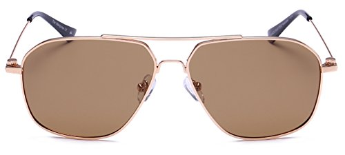 "PRIVE REVAUX ""The Marquise"" Handcrafted Designer Polarized Aviator Sunglasses (Gold)"