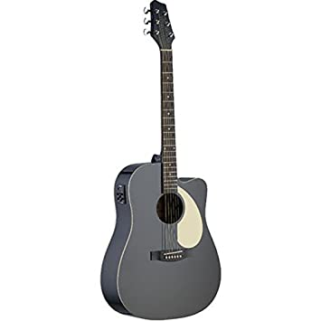 Stagg SA30DCE BK Acoustic Electric Dreadnought Guitar With Linden Top