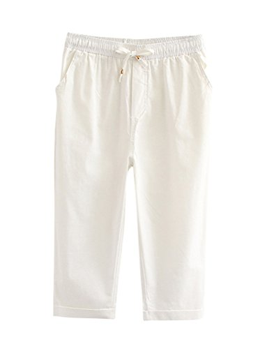 s Women Cotton Linen, Relaxed Cropped Trousers with Belt Plus Size (XL, White) ()